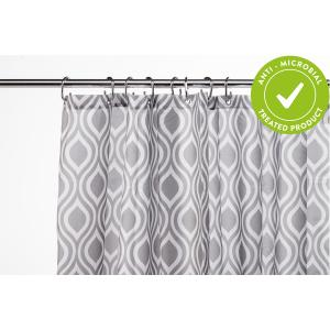 Grey Medallion Textile Shower Curtain